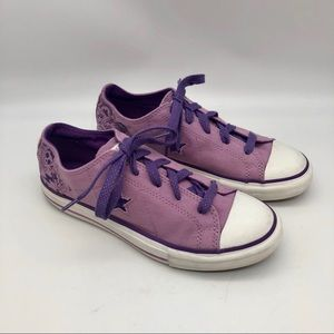Converse One Star lavender Love/ Peace sneakers
